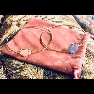 New Two Goldtone Bracelets Peach & Blue Stones